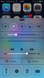 Die neue Funktion um schnell Einstellungen zu verändern. Apple nennt dies Control Center.