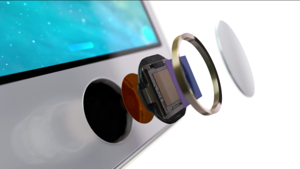 Das Touch ID System im iPhone 5S. Quelle: Apple All rights reserved by Apple Inc.