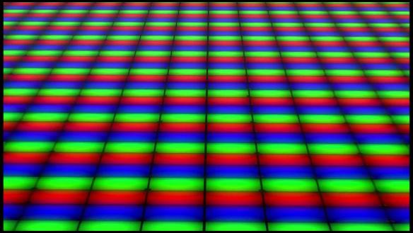 Ein Bild von mehreren Pixeln und deren farbgebenden Sub-Pixeln. Quelle: Apple
