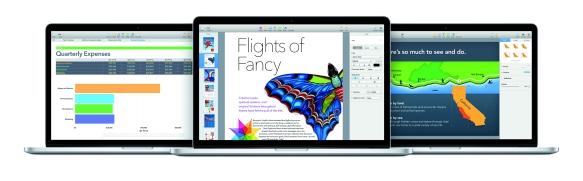 Das neue 15 Zoll macBook Pro und die kostenlos erhältlichen iWork-Programme.