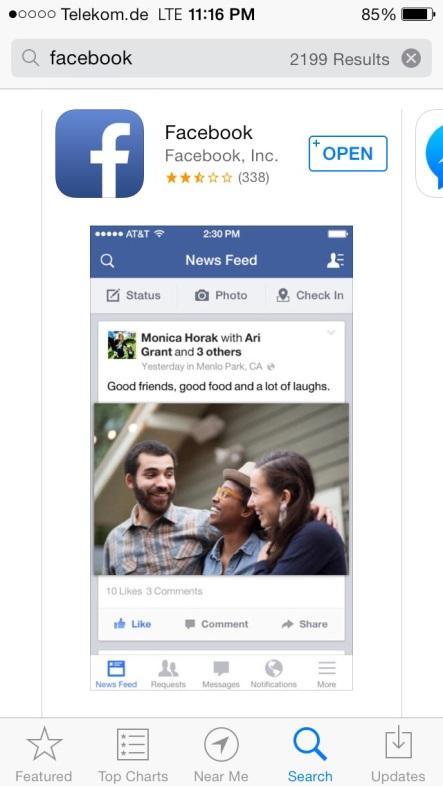 Die aktuelle Facebook-App erhält keine guten Bewertungen.