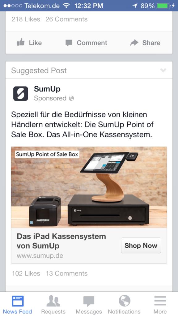 Werbung, wie sie aktuell in der App Präsentiert wird.