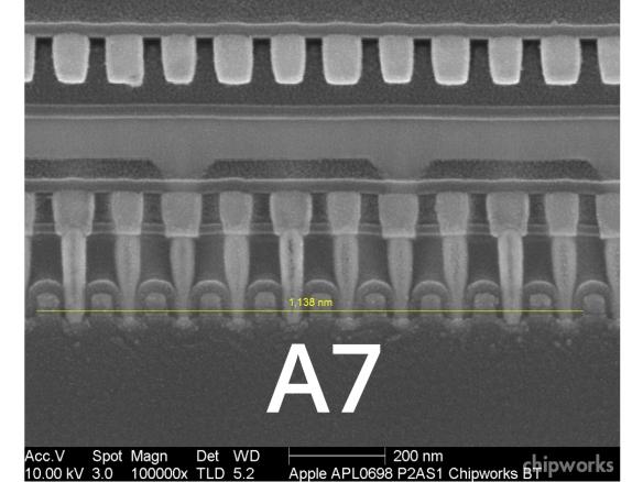 Einzelne Transistoren auf dem A7. Der Prozessor besitzt mehr als eine Milliarden dieser kleinen Bauteile. Quelle: iFixit.com Bild: chipworks.com