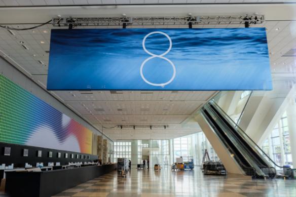 Das Banner für Apples neues iPhone-Betriebssystem. Foto: theverge.com